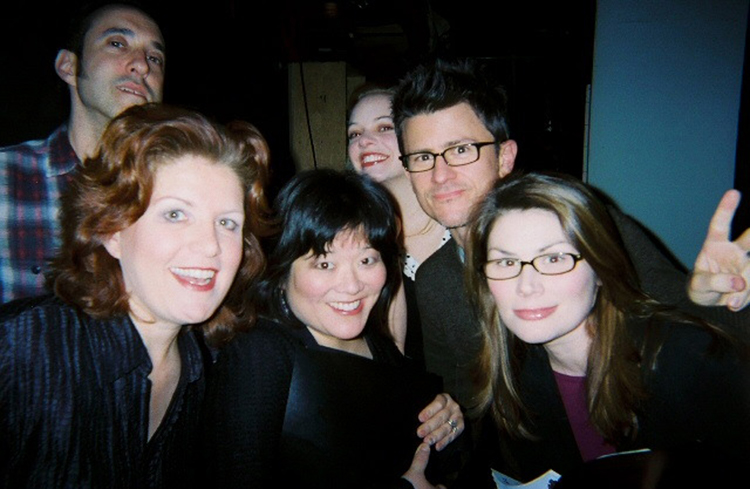 Backstage before the first reading of The Cousins Grimm at the York Theatre, Jonathan Brody, Klea Blackhurst, Ann Harada, Jillian Louis, Randy Redd, and Heidi Blickenstaff, New York, 2007
