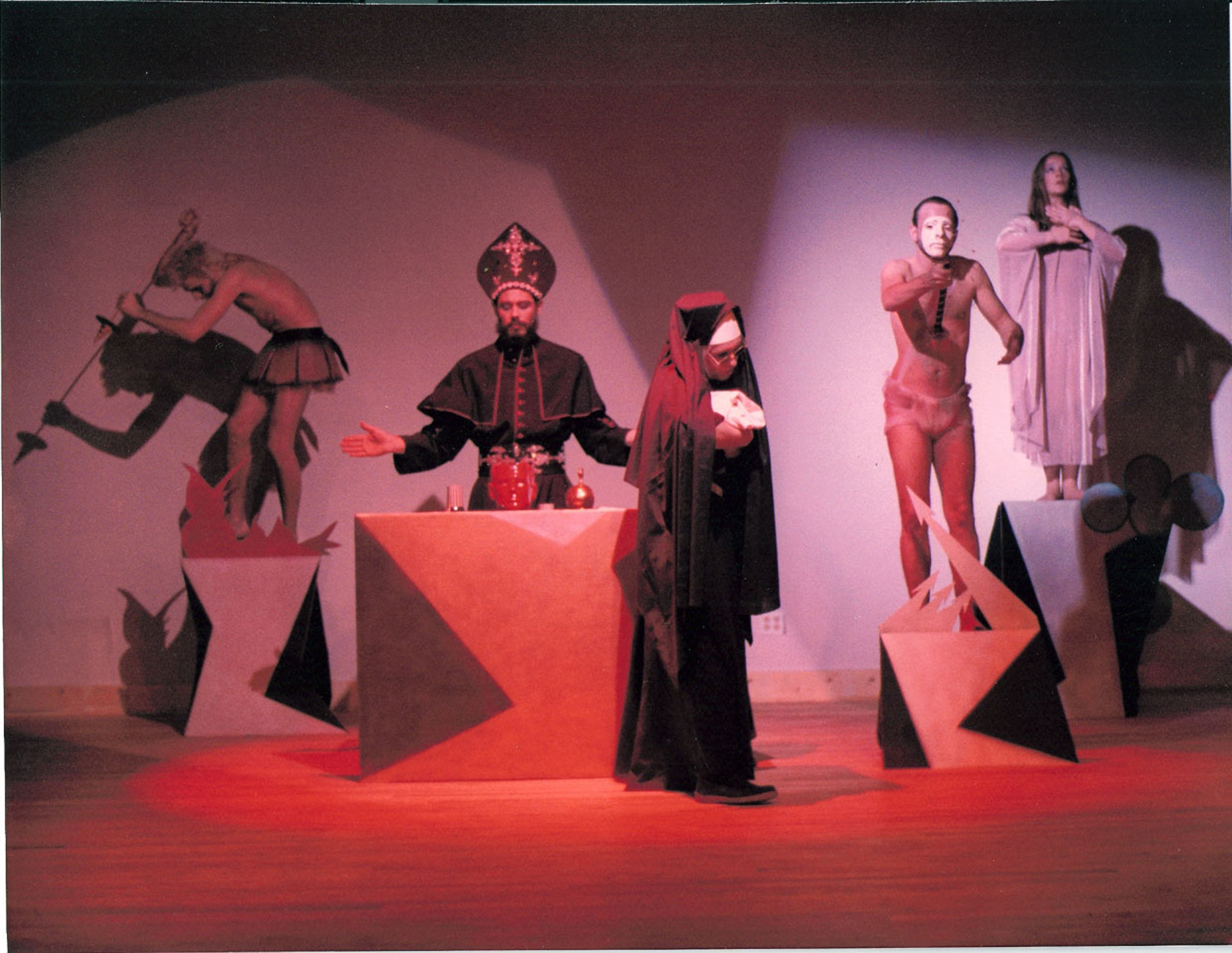 Rikki Ercoli Hap Phillips, David Thomas, Brendan Fawcett, and Debi Glennon in The Mass from Biello's How I Spent My Summer Vacation, Painted Bride, Philadelphia, 1983