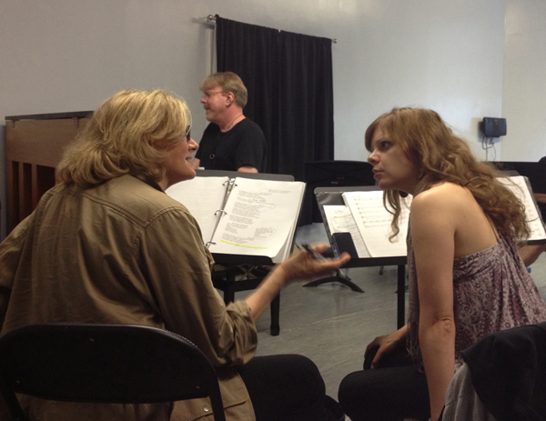"""Jane Summerhays and Jillian Louis rehearse """"Almost"""" with musical director Chris McGovern, NYC 2013"""