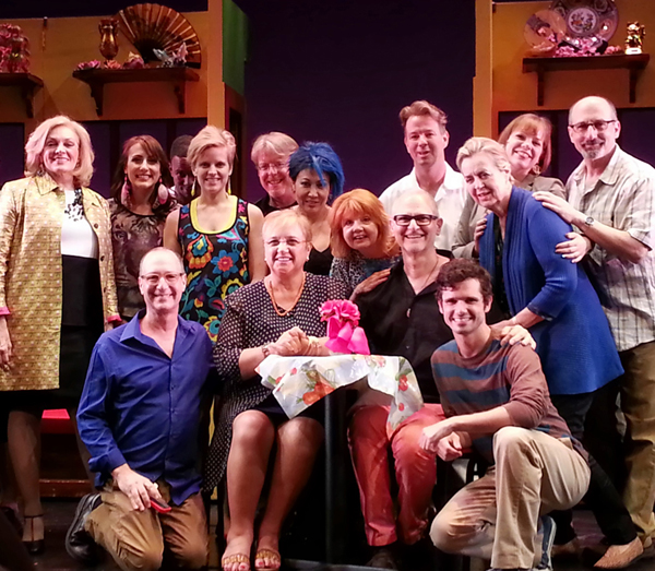 Chef Lidia Bastianich poses onstage with the cast and creative team of Marry Harry, NYC 2013