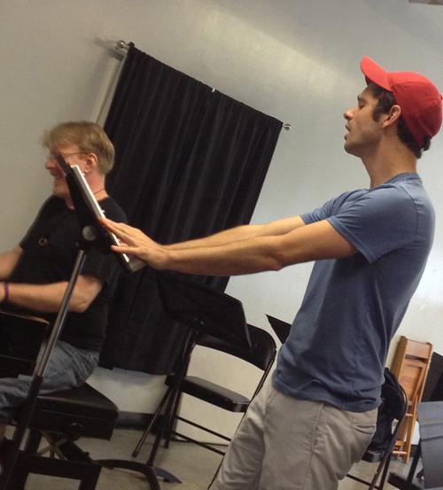 "Robb Sapp rehearses ""Lidia"" with musical director Chris McGovern, NYC 2013"